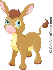 cute, sorrindo, burro