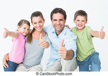 cute, sorrindo, câmera, família, toget