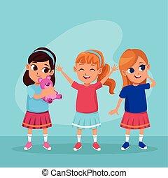 cute, sorrindo, crianças, desenhos animados, feliz