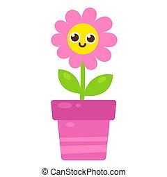 cute, sorrindo, flor