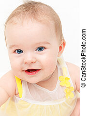 cute, sorrindo, isolado, bebê, branca, menina