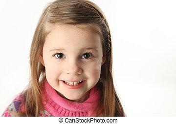 cute, sorrindo, pré-escolar, menina