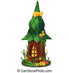 Cute souvenir in the form of a miniature wooden fantasy house isolated on white background. Vector cartoon close-up illustration.
