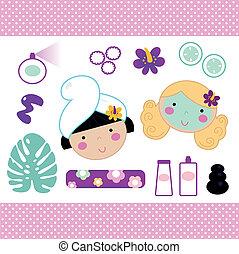 cute, spa, jogo, elementos, com, meninas bonitas, (, cor-de-rosa, )