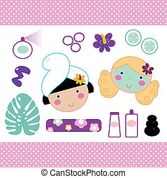 Cute spa set elements with beautiful girls ( pink )