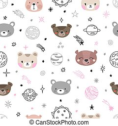 Cute space seamless pattern with cartoon bears. Abstract print. Hand drawn nursery background with funny animals for children