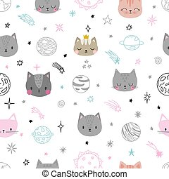 Cute space seamless pattern with cartoon cats. Abstract print. Hand drawn nursery background with funny animals for children