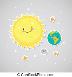 Cute space sticker