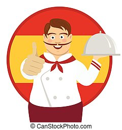 Cute spanish chef with big mustache holding a tray and giving thumbs up over Spain flag