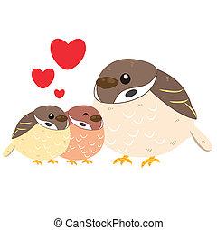 cute sparrow family - cute cartoon sparrow family
