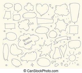 Cute speech bubble doodle set. Vector Illustration and graphic elements. Linear design.