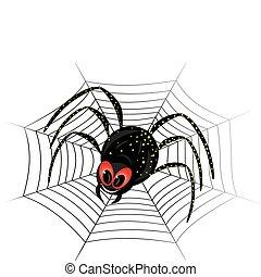 Cute spider on web - Illustration of cute black widow Spider...
