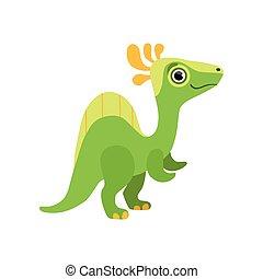 Cute spinosaurus dinosaur, green baby dino cartoon character vector Illustration
