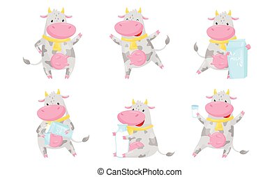 Cute Spotted Cow Cartoon Character Collection, Funny Humanized Farm Animal in Various Action Poses with Milk Packagings Vector Illustration