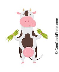 Cute spotted cow eating grass, funny farm animal cartoon character vector Illustration on a white background.