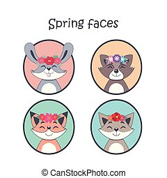 Cute spring animal faces