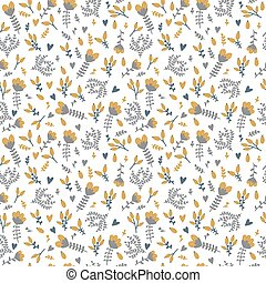 Cute spring background. Seamless floral pattern with berries