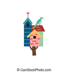Cute spring birdhouse on tree with small bird flat vector illustration isolated.