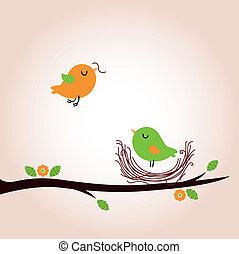 Cute spring birds building nest - Bird nest - vector cartoon...