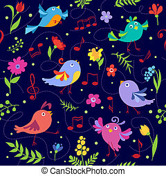 Cute spring musical birds seamless pattern blue