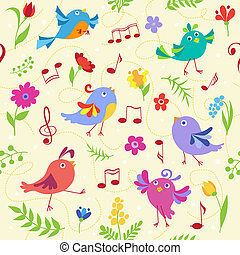 Cute spring musical birds seamless pattern