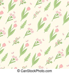Cute spring pattern with butterflies and tulips