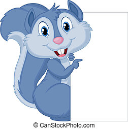 Cute squirrel cartoon holding blank