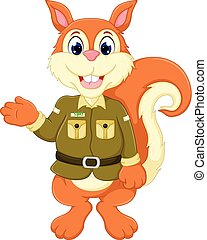 cute squirrel cartoon standing with waving and smiling -...
