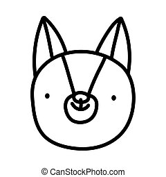 cute squirrel face cartoon character on white background thick line