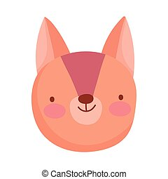 cute squirrel face cartoon character on white background