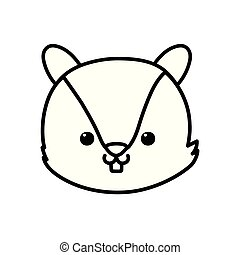 cute squirrel head cartoon icon thick line