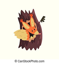 Cute squirrel sitting in hollow of tree, hollowed out old tree and cute animal cartoon character inside vector Illustration on a white background