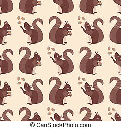Cute squirrel with acorns seamless pattern background. Red brown woodland animals juggling and holding nuts on neutral cream color backdrop. Forest wildlife design. Hand drawn modern all over print