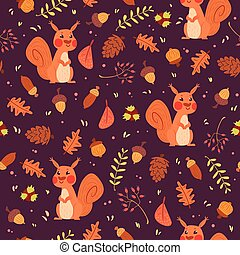 Cute squirrels in forest seamless pattern