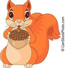 Cute squiurrel cartoon isolated on - Vector illustration of...