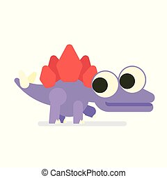 Cute Sregosaurus walking. Dinosaur life. Vector illustration of prehistoric character in flat cartoon style isolated on white background. Funny violet Stegosaur with big eyes. Element for design.