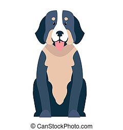Cute St. Bernard dog cartoon flat vector icon - Funny cute...