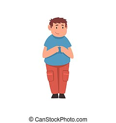 Cute Standing Fat Boy, Overweight Child Character Vector...