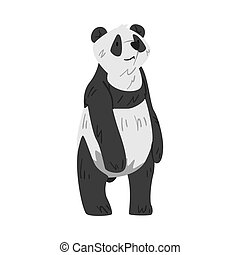 Cute Standing Panda Bear, Funny Wild Animal Cartoon Style Vector Illustration on White Background