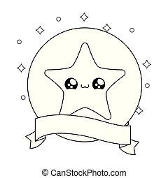 cute star in frame circular with ribbon kawaii style