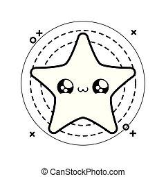 cute star kawaii style in frame circular icon