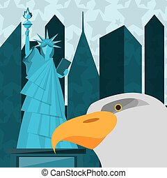 cute statue of liberty with eagle in new york city