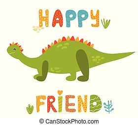 Cute stegosaurus dinosaur and hand drawn text