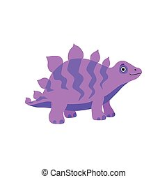 Cute stegosaurus dinosaur, purple baby dino cartoon character vector Illustration
