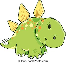 Cute Stegosaurus Dinosaur Vector