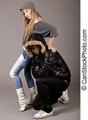 Cute still of a black man and caucasian women