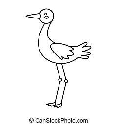 cute stork animal line style icon