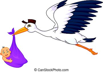 cute stork carrying baby - vector illustration of cute stork...