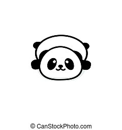 Cute Stout Panda rest lying down vector illustration, Baby Bear logo, new design line art, Chinese Teddy-bear Black color sign, simple image, picture with animal.