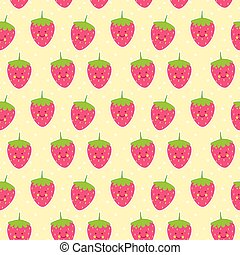 Cute strawberries seamless pattern